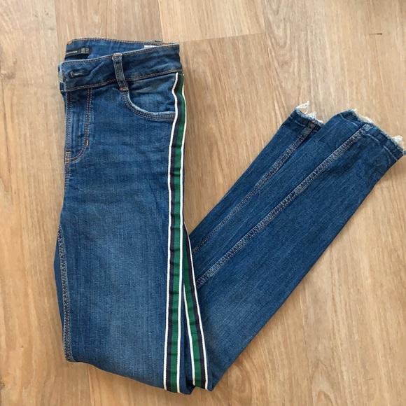 Zara Green Striped Skinny Jean